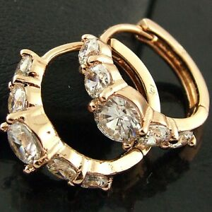 FS561-GENUINE-18K-ROSE-G-F-GOLD-SOLID-DIAMOND-SIMULATED-HUGGIE-HOOP-EARRINGS