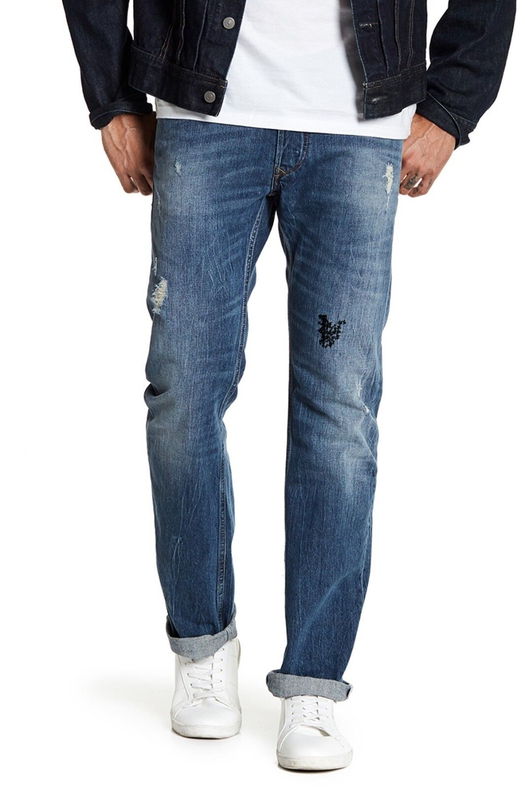 Diesel Viker Distressed Button Fly Jeans Button fly, Whiskering, 29X32,  NWT