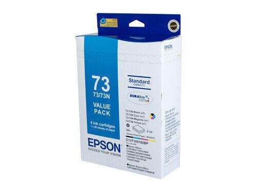 "Epson 73N  4 Ink Cartridge + 4"" X 6"" Glossy Photo Paper Value Pack C13T105192BP"
