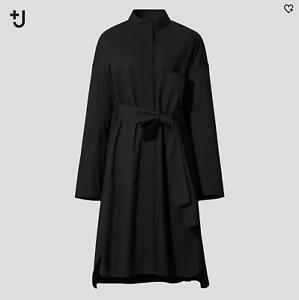UNIQLO-X-Jil-Sander-J-Women-Long-Sleeve-Shirt-Dress-Black-Sz-XS