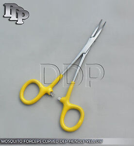 "Hemostats Mosquito Forceps Surgical Instruments, Yellow Dep Handle 3.5"" Curved"