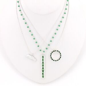SEATTLE-SEAHAWKS-Necklace-Set-3-Pieces-SPARKLE-amp-SHINE-NFL-Football-Bling