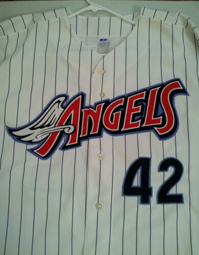 d84338bf533 new RARE RUSSELL ATHLETIC ANAHEIM ANGELS 42 MO VAUGHN SIGNED JERSEY SIZE 48