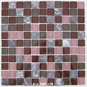 dark red and pink glass and stone mosaic tile for bathroom