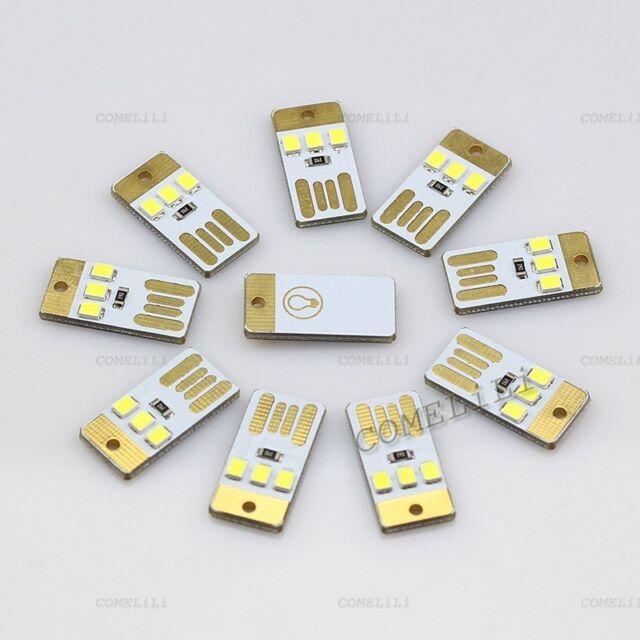 10pcs Mini LED Night Light Pocket Card Lamp Led Keychain Lamp Portable USB Power