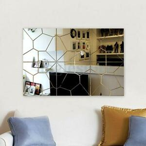 2 Set 3D Modern Mirror Decal Art Mural Wall Sticker Home Decor Removable 20cm