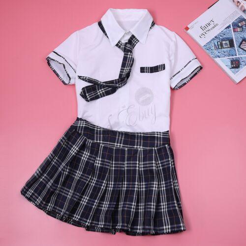 Women Japan Anime School Girl Uniform Cosplay Costume Shirt Mini Tartan Skirt
