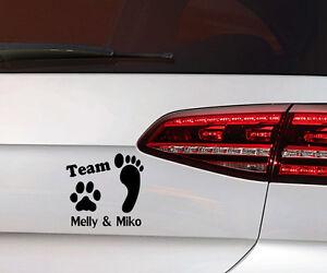 Hunde-Aufkleber-Pfote-Hund-Sticker-Team-Wunsch-Namen-Dog-Decal-Premium-Folie