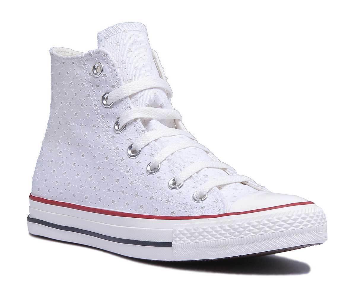 Converse Chuck Taylor All Star Perf Stars Hi WEISS Hi Trainers  UK Größe 3 - 8