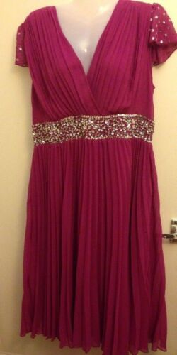 B3 Post 16 Prom Beaded Bnwt Pink Dark Free Evening Size Berketex Maxi Dress FP7Wnxx