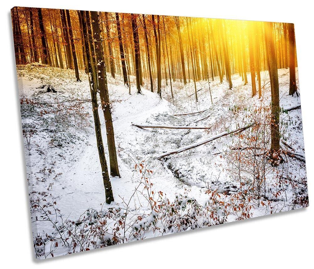 Winter Forest Sunset Bild SINGLE CANVAS Wand Kunst Drucken Orange