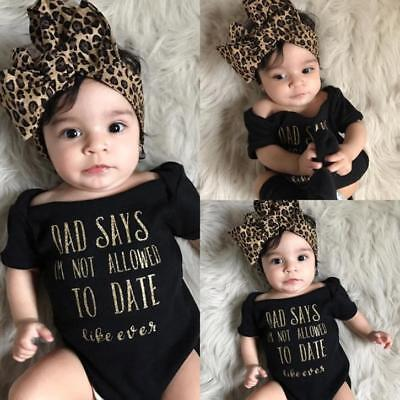 Newborn Infant Baby Girl Letter Camouflage Romper Jumpsuit Headband Clothes Set