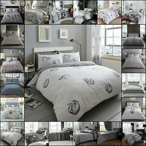 Easy-Care-Quilt-Duvet-Cover-amp-Pillow-Case-Reversible-Grey-Home-Bedding-All-Sizes
