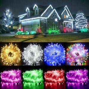 100/200/300/500 LED String Fairy Lights 8 Function Mains Plug In Xmas Tree Decor