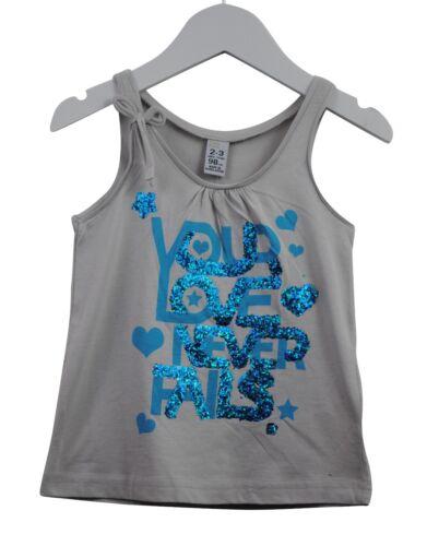 Filles Ex Zara Vest Tank Top Paillettes Love Imprimé Gris Âge 2 To 14 ans Kids C02.3