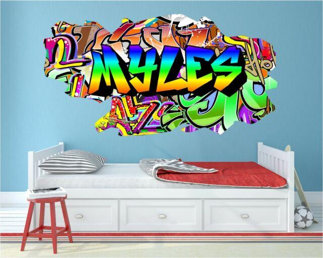 Personalised Graffiti Wall Art Name Sticker Decal Any Name Kids Bedroom Artist Ebay