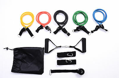 Resistance Band Set 11pcs Yoga Pilates Exercise Fitness ABs Workout Sturdy Bands
