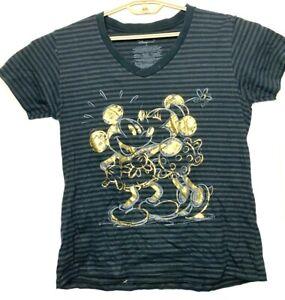 Disney-Rayas-Gris-Negro-Con-Oro-Metalico-Mickey-Mouse-T-shirt-mujer-XL
