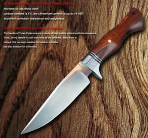 9-1-2-Bowie-Hunting-Knife-w-leather-sheath-hardwood-handle