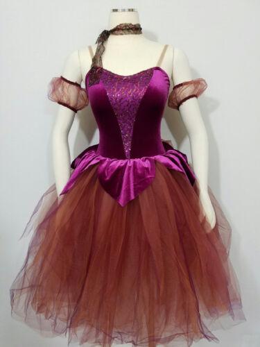 Phoenix Dance Costume Romantic Ballet Tutu Burgundy//Plum//Wine//Copper Adult Large