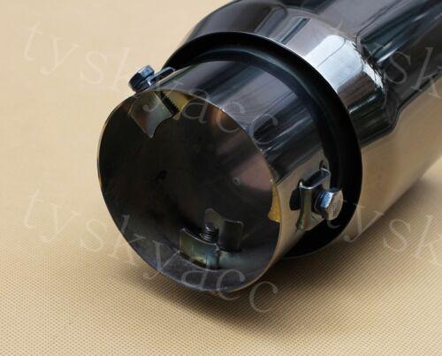 "Titanium Black 3/"" 76mm Inlet Auto Tail Pipe Muffler Tip Exhaust Rear Throat Trim"