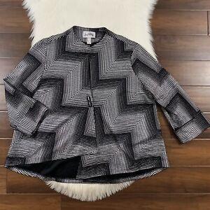 Joseph Ribkoff Women's Size 18 Black Asymmetrical Cuffed Sleeve Blazer Jacket