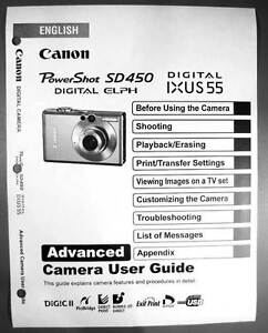 canon powershot sd450 ixus 55 digital camera user guide instruction rh ebay com Canon PowerShot IXUS Canon PowerShot S100 Digital ELPH