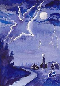 ACEO RYTA PRINT OF PAINTING RAVEN CROW HALLOWEEN MOON MAGIC GOTHIC FANTASY ART