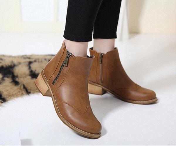 botas elegantes talón cómodo 4 cm marrón como piel CW796