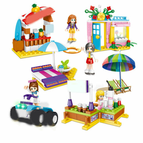 4pcs//set 4in1 Girls Outdoor Scenes Building Blocks Bricks Models Figures Toys
