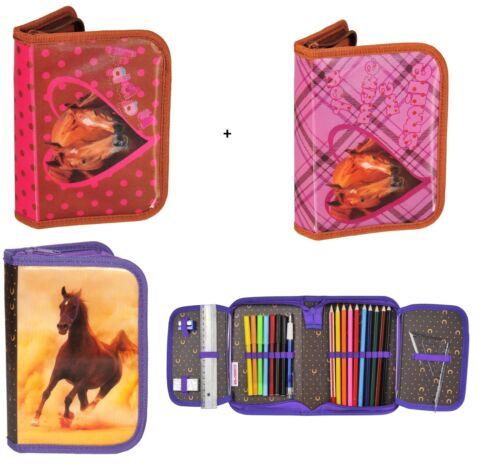 3-er Set Schüleretui gefüllt Pferd  Federtasche Horse  Federmäppchen