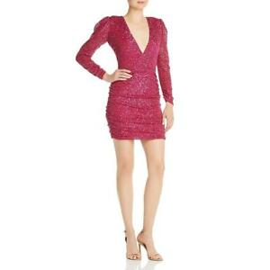 Parker Womens Arienne Pink Sequined V-Neck MIni Cocktail Dress 2 BHFO 5054