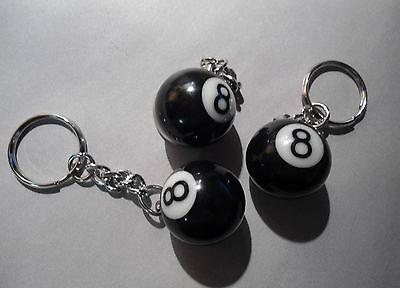 THREE ~  MINI - BILLIARD POOL 8 BALL KEY CHAIN