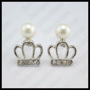 Queen-Priness-Crown-amp-Pearl-Silver-Stud-Earrings-Beautiful-Women-Jewellry-NEW