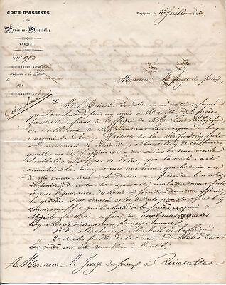 lettre du procureur de Perpignan 1846 sur une affaire de fausse monnaie
