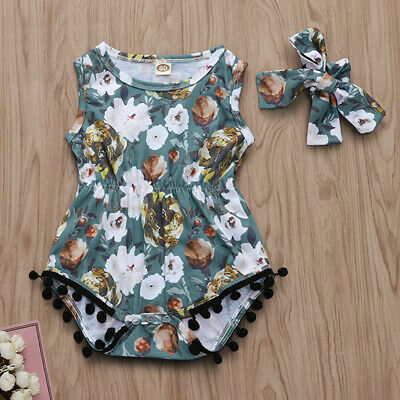 2PC Summer Baby Girls Sleeveless Sunflower Print Romper Headband Bodysuit 3-24M