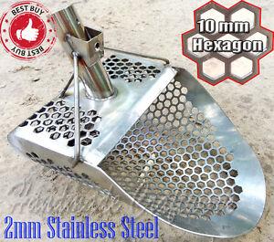 *HEXAGON -10* 2mm Stainless Steel Beach Sand Scoop Metal Detecting Hunting Tool