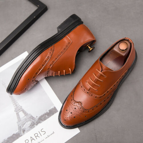 Details about  /Mens Dress Formal Leather Shoes Business Pointy Toe Brogue Wing Tip Carved Party