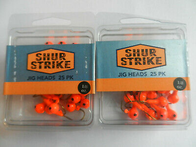 Shur Strike Round Head Jigs;  2 Packs of 25;  1//8oz;  Orange;  SSRHJ18-25O