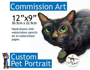 12x9-Cat-or-Dog-Pet-Portrait-Commission-watercolour-pencil-art-Unframed