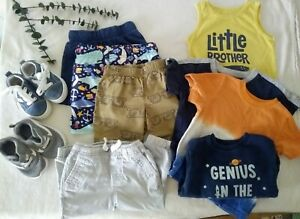 9 Pc Baby Boy 18-24 Month Clothing Lot Shorts Pants Shoes Body Suit Swim