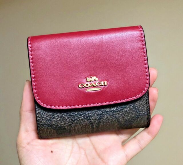 info for 48f92 90d2d Coach F87589 87589 Signature PVC Small Wallet Credit Card Clutch Brown Hot  Pink