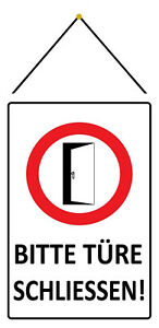 Please Door Close Tin Sign Shield with Cord 20 X 30 CM FA1492-K
