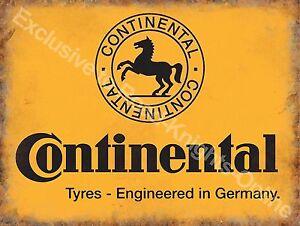 Vintage Garage Continental Tyres Motor Car Vehicle Wheel Large Metal Tin Sign