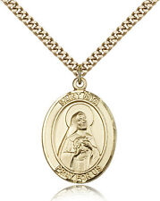 """Saint Rita Of Cascia Medal For Men - Gold Filled Necklace On 24"""" Chain - 30 D..."""