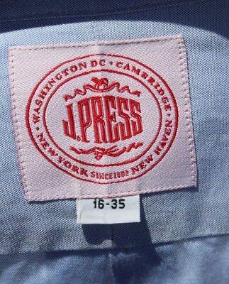 J. Press 16 / 35 Gentleman's Light Blue All Cotton French Cuff Dress Shirt - USA
