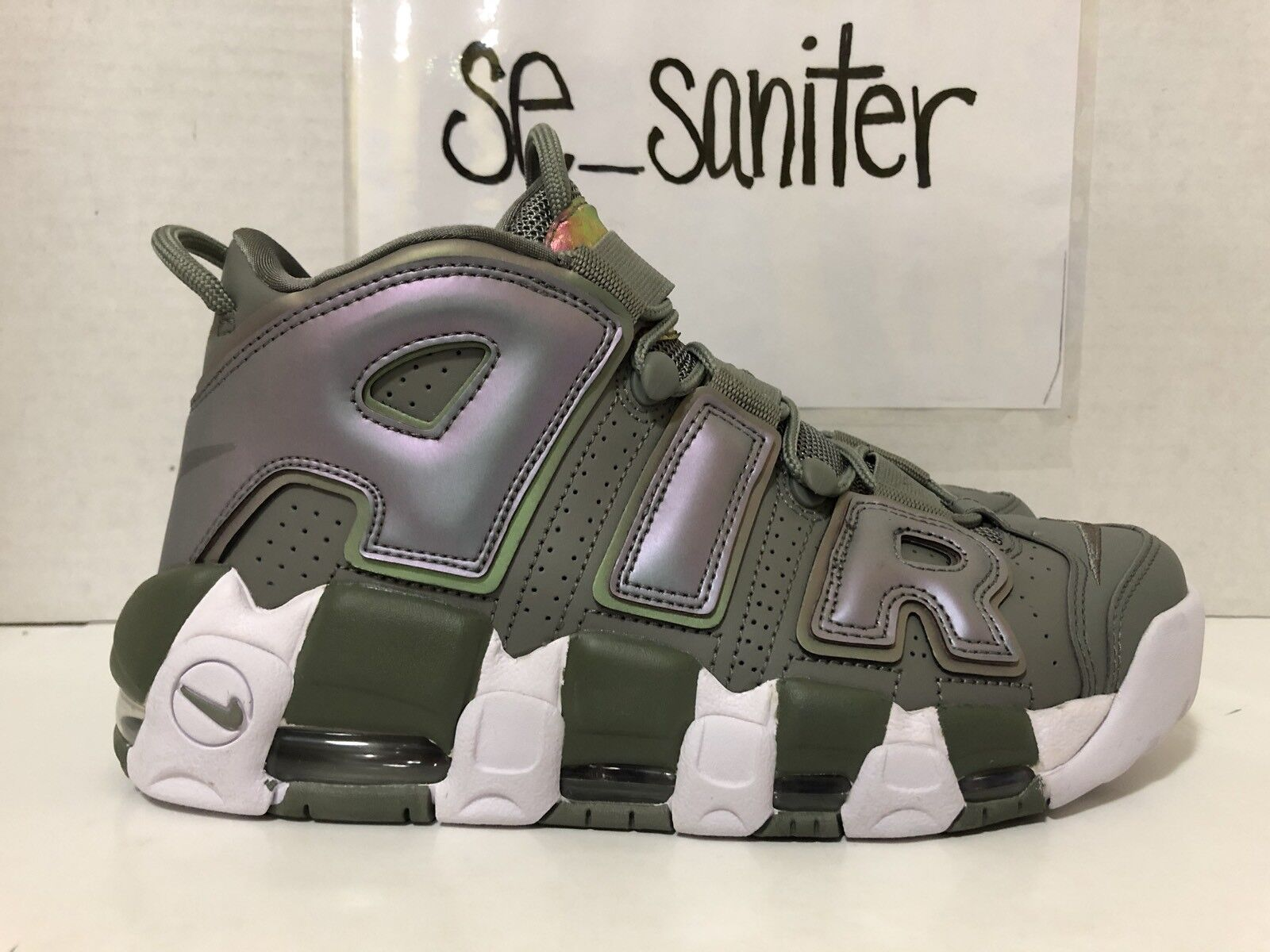 WOMEN'S SAMPLE NIKE AIR MORE UPTEMPO DARK STUCCO GOLD 8 RARE 917593-001 SIZE 7.5 Brand discount