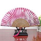Chinese Japanese Hand Held Folding Butterfly Flower Silk Bamboo Wedding Fan Pink
