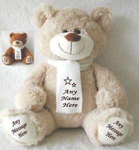 Personalised Teddy Bear BEIGE/BROWN 34CM TOP TO TOE BIRTHDAY ANNIVERSARY