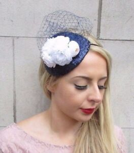 Navy Blue White Rose Flower Fascinator Headband Races Wedding Sequin ... 5d428a3095d